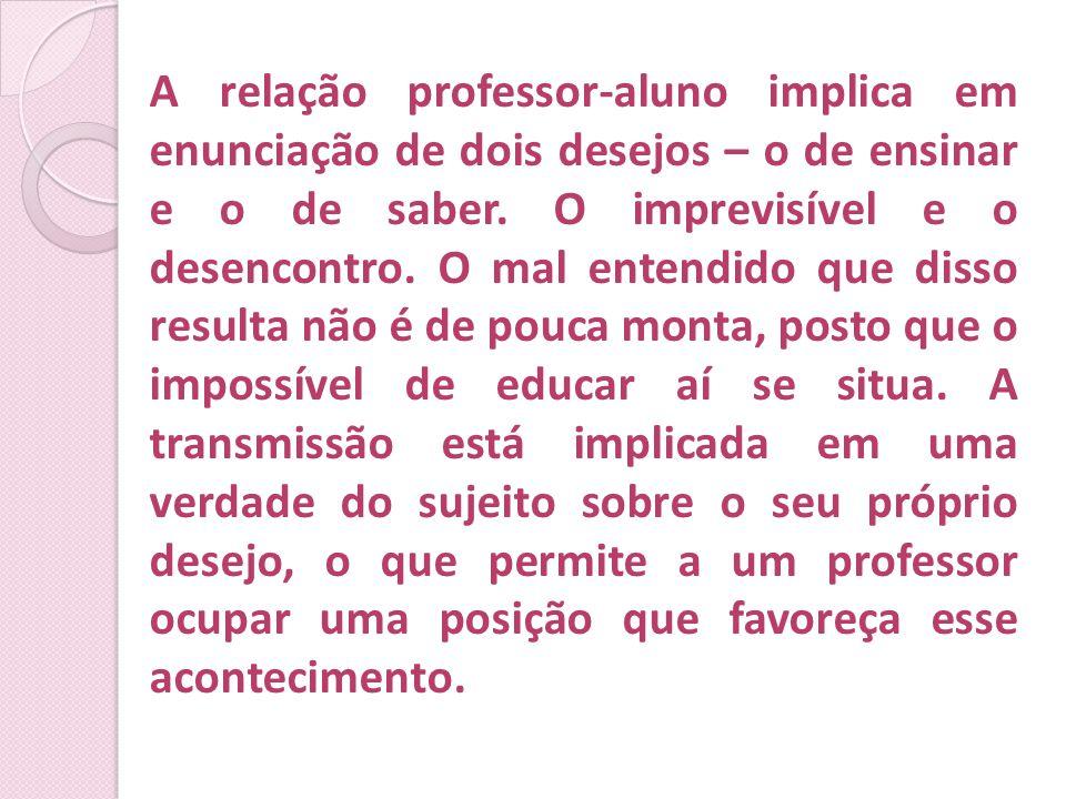 A relação professor-aluno implica em enunciação de dois desejos – o de ensinar e o de saber. O imprevisível e o desencontro. O mal entendido que disso