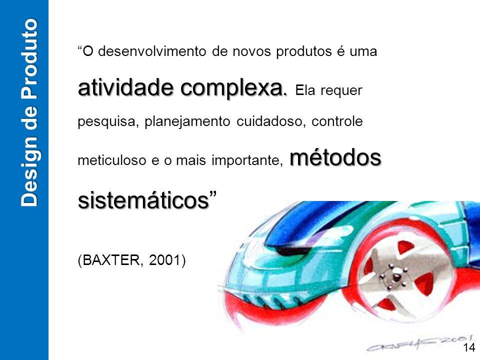 atividade complexa. métodos sistemáticos O desenvolvimento de novos produtos é uma atividade complexa. Ela requer pesquisa, planejamento cuidadoso, co
