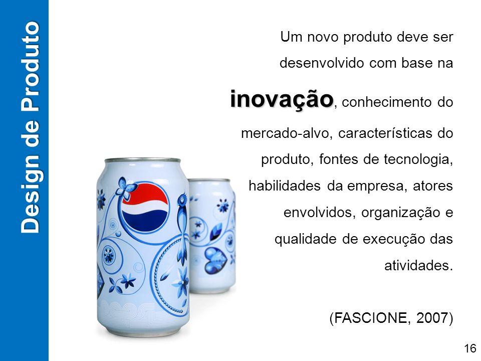 inovação Um novo produto deve ser desenvolvido com base na inovação, conhecimento do mercado-alvo, características do produto, fontes de tecnologia, h