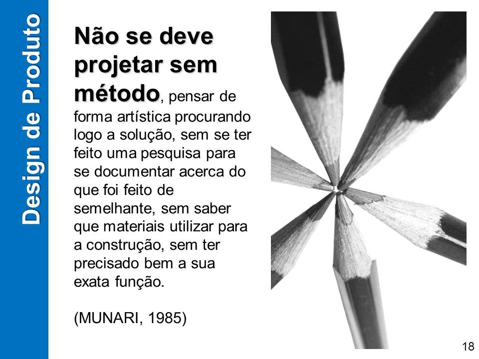 Design de Produto Não se deve projetar sem método Não se deve projetar sem método, pensar de forma artística procurando logo a solução, sem se ter fei