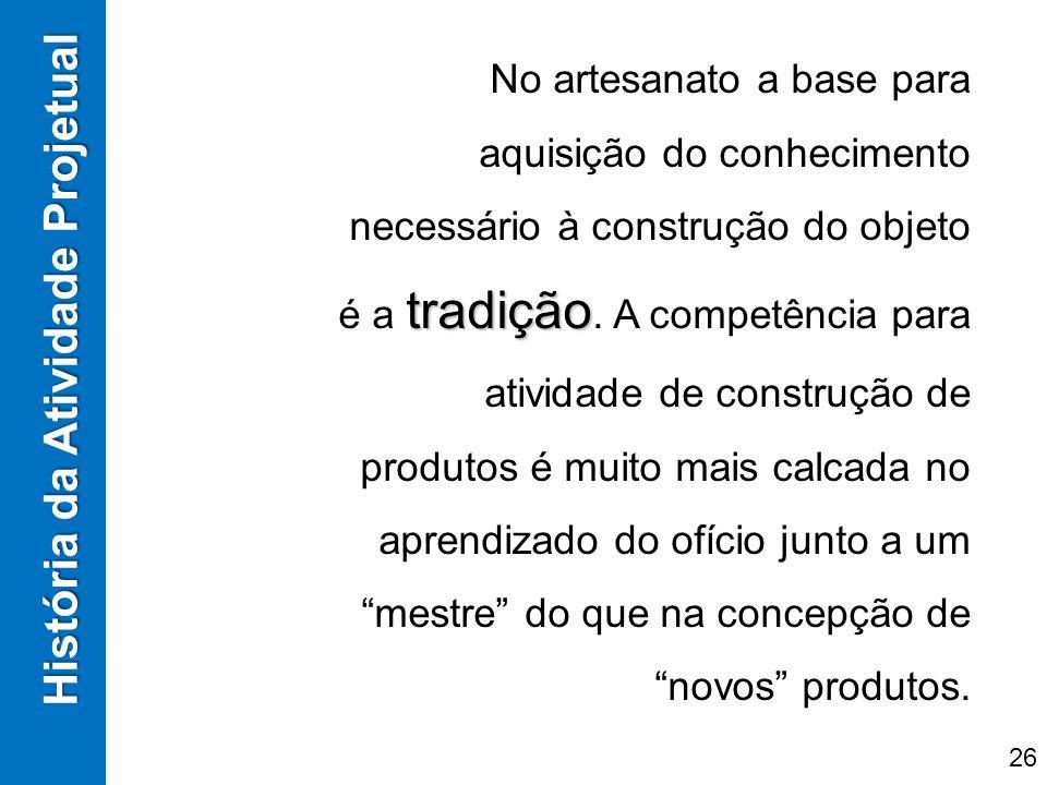 História da Atividade Projetual tradição No artesanato a base para aquisição do conhecimento necessário à construção do objeto é a tradição. A competê