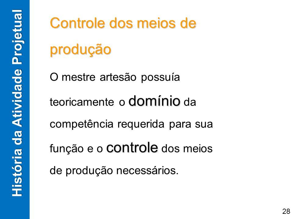 Controle dos meios de produção domínio controle O mestre artesão possuía teoricamente o domínio da competência requerida para sua função e o controle