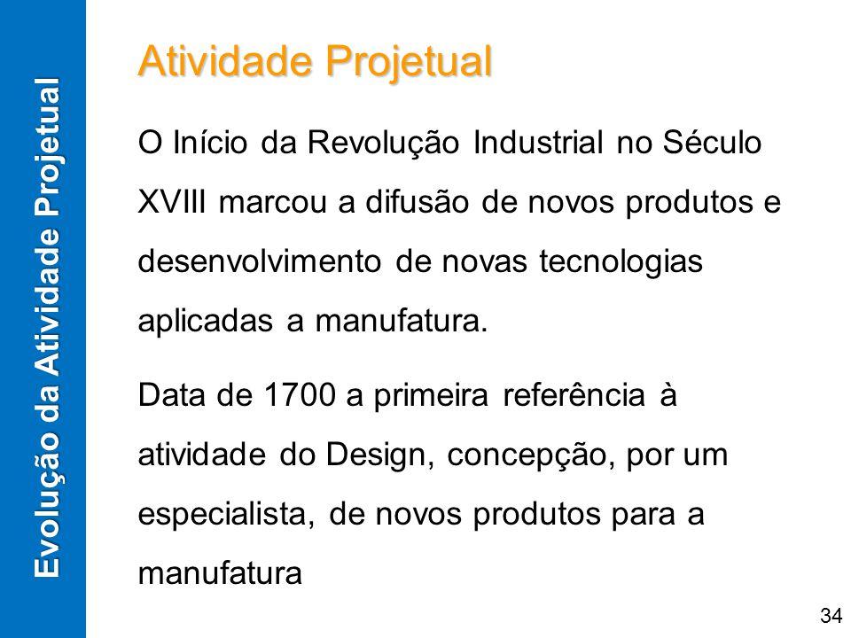 Atividade Projetual O Início da Revolução Industrial no Século XVIII marcou a difusão de novos produtos e desenvolvimento de novas tecnologias aplicad