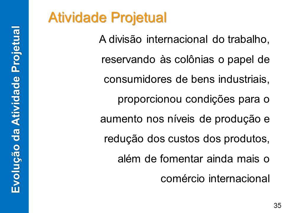Evolução da Atividade Projetual A divisão internacional do trabalho, reservando às colônias o papel de consumidores de bens industriais, proporcionou