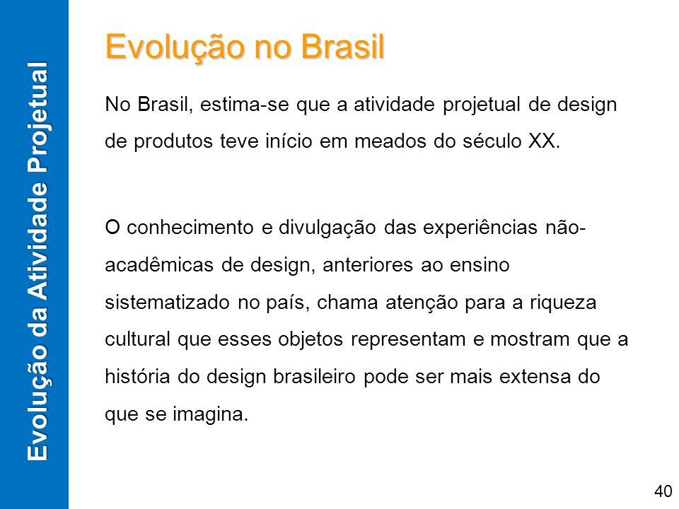 Evolução no Brasil No Brasil, estima-se que a atividade projetual de design de produtos teve início em meados do século XX. O conhecimento e divulgaçã