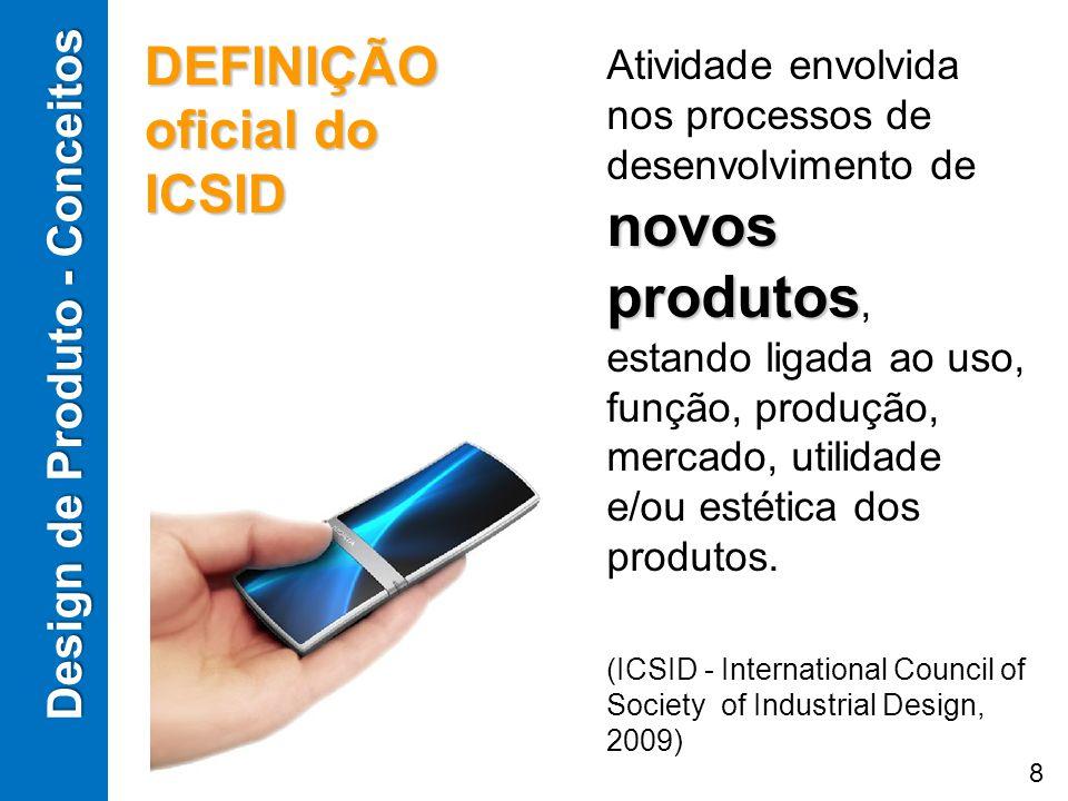 novos produtos Atividade envolvida nos processos de desenvolvimento de novos produtos, estando ligada ao uso, função, produção, mercado, utilidade e/o