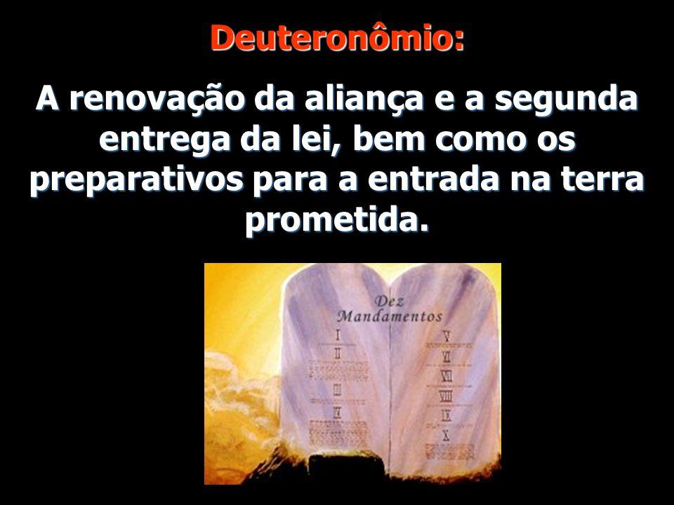 Deuteronômio: A renovação da aliança e a segunda entrega da lei, bem como os preparativos para a entrada na terra prometida.