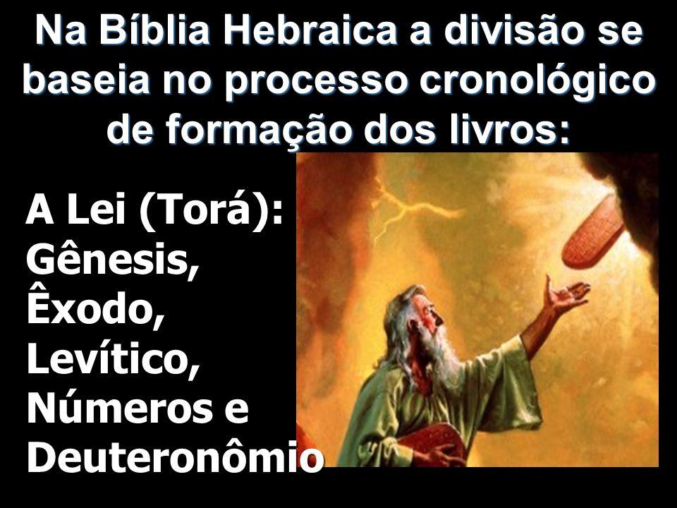 Na Bíblia Hebraica a divisão se baseia no processo cronológico de formação dos livros: A Lei (Torá): Gênesis, Êxodo, Levítico, Números e Deuteronômio