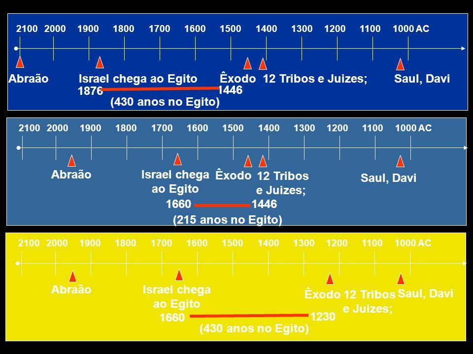 2100 2000 1900 1800 1700 1600 1500 1400 1300 1200 1100 1000 AC Abraão Israel chega ao Egito Êxodo 12 Tribos e Juizes; Saul, Davi 1876 1446 (430 anos n