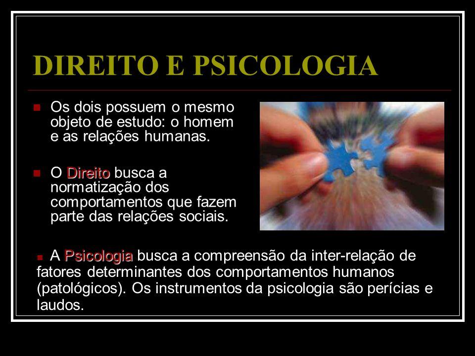 DIREITO E PSICOLOGIA Os dois possuem o mesmo objeto de estudo: o homem e as relações humanas. Direito O Direito busca a normatização dos comportamento