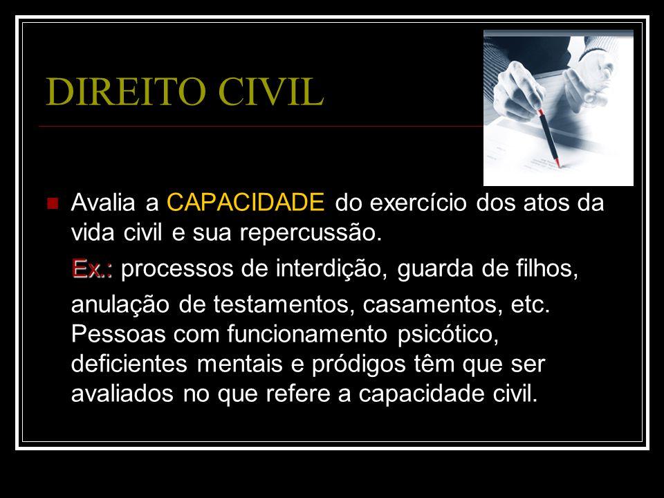 DIREITO CIVIL Avalia a CAPACIDADE do exercício dos atos da vida civil e sua repercussão. Ex.: Ex.: processos de interdição, guarda de filhos, anulação