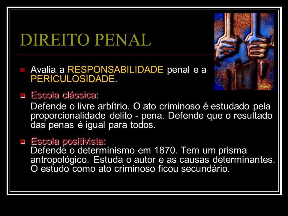 DIREITO PENAL Avalia a RESPONSABILIDADE penal e a PERICULOSIDADE. Escola clássica: Escola clássica: Defende o livre arbítrio. O ato criminoso é estuda
