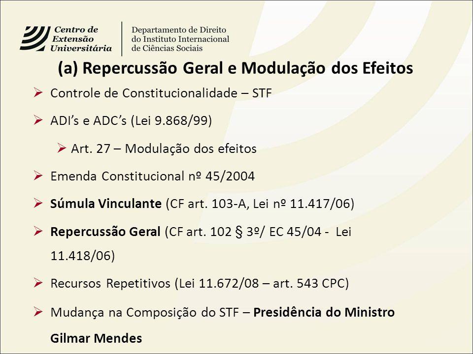 (a) Repercussão Geral e Modulação dos Efeitos Controle de Constitucionalidade – STF ADIs e ADCs (Lei 9.868/99) Art. 27 – Modulação dos efeitos Emenda