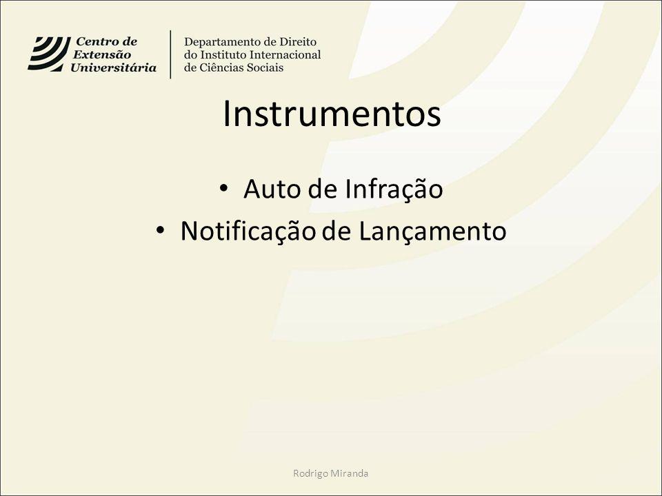 Instrumentos Auto de Infração Notificação de Lançamento Rodrigo Miranda