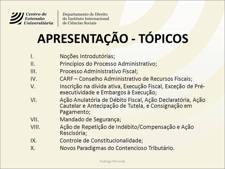 APRESENTAÇÃO - TÓPICOS I.Noções Introdutórias; II.Princípios do Processo Administrativo; III.Processo Administrativo Fiscal; IV.CARF – Conselho Admini