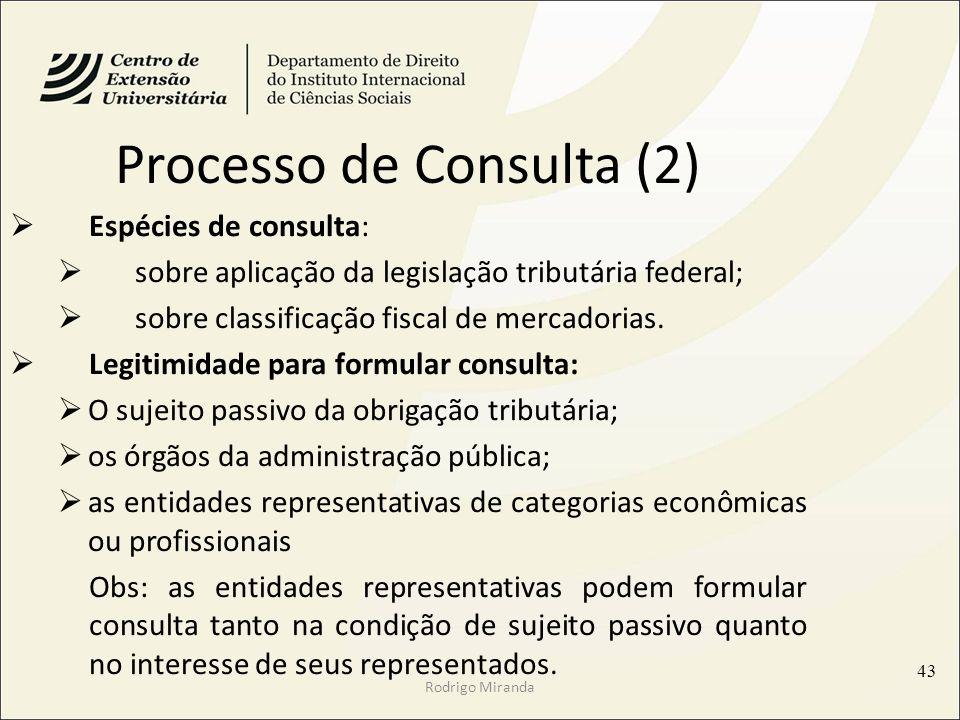 Rodrigo Miranda Processo de Consulta (2) Espécies de consulta: sobre aplicação da legislação tributária federal; sobre classificação fiscal de mercadorias.