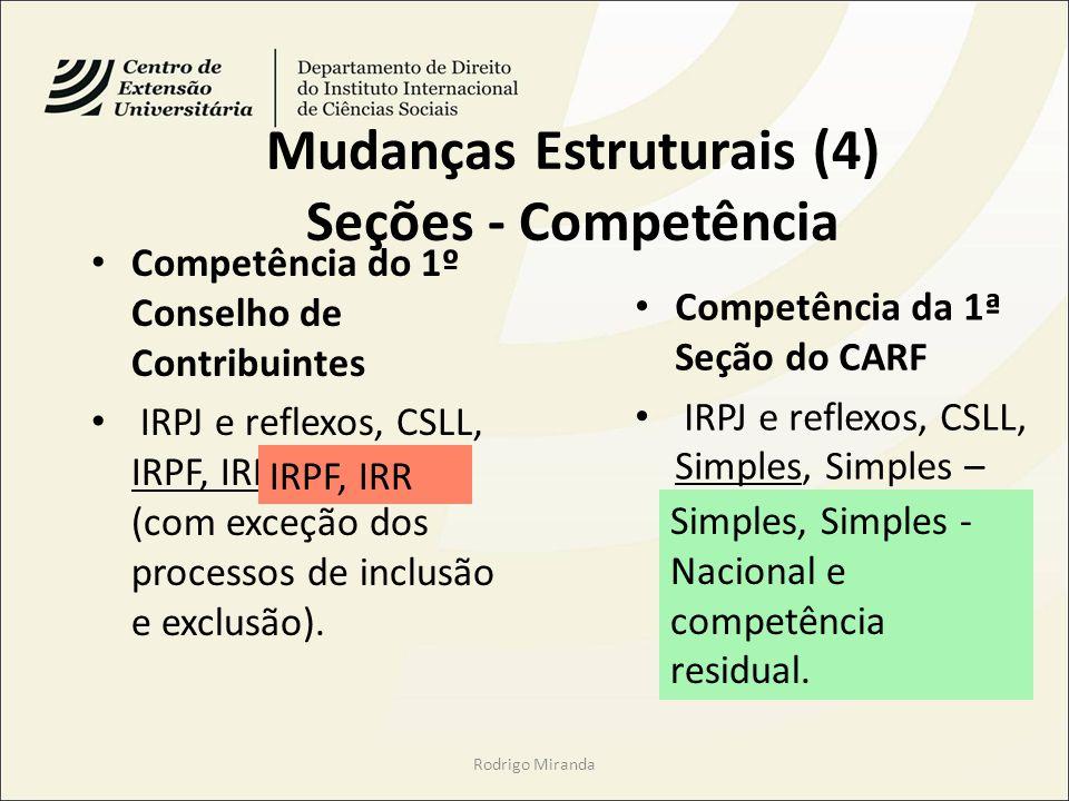 Mudanças Estruturais (4) Seções - Competência Competência do 1º Conselho de Contribuintes IRPJ e reflexos, CSLL, IRPF, IRRF e Simples (com exceção dos processos de inclusão e exclusão).