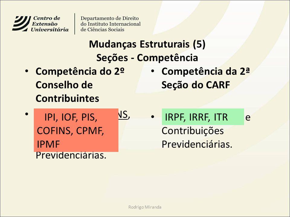 Mudanças Estruturais (5) Seções - Competência Competência do 2º Conselho de Contribuintes IPI, IOF, PIS, COFINS, CPMF, IPMF e Contribuições Previdenciárias.