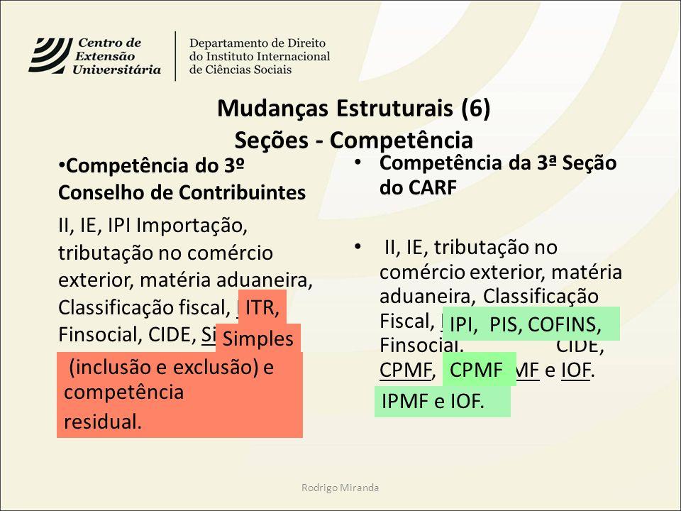 Mudanças Estruturais (6) Seções - Competência Competência do 3º Conselho de Contribuintes II, IE, IPI Importação, tributação no comércio exterior, matéria aduaneira, Classificação fiscal, ITR, Finsocial, CIDE, Simples (inclusão e exclusão) e competência residual.