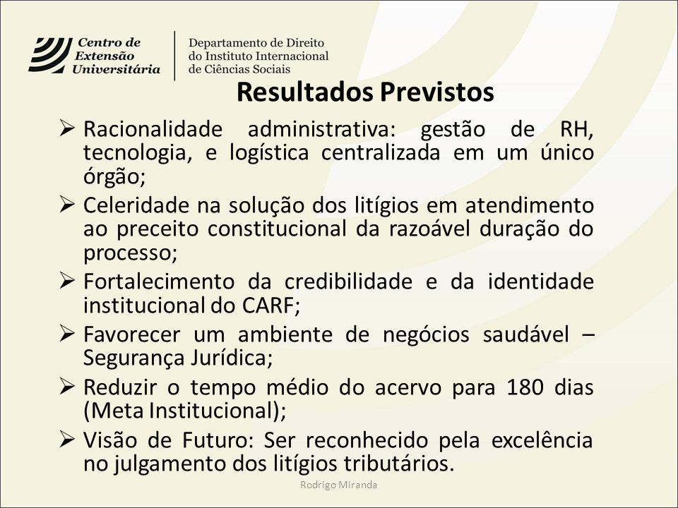 Rodrigo Miranda Resultados Previstos Racionalidade administrativa: gestão de RH, tecnologia, e logística centralizada em um único órgão; Celeridade na