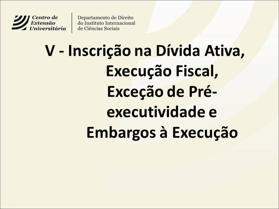 V - Inscrição na Dívida Ativa, Execução Fiscal, Exceção de Pré- executividade e Embargos à Execução