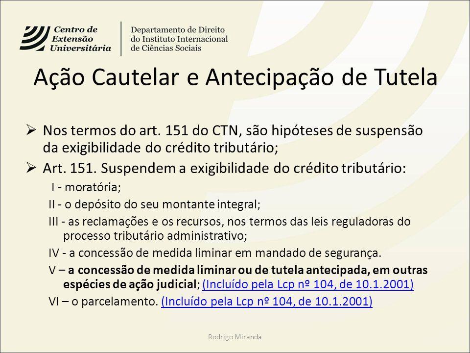 Ação Cautelar e Antecipação de Tutela Nos termos do art. 151 do CTN, são hipóteses de suspensão da exigibilidade do crédito tributário; Art. 151. Susp