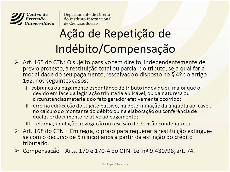 Ação de Repetição de Indébito/Compensação Art. 165 do CTN: O sujeito passivo tem direito, independentemente de prévio protesto, à restituição total ou