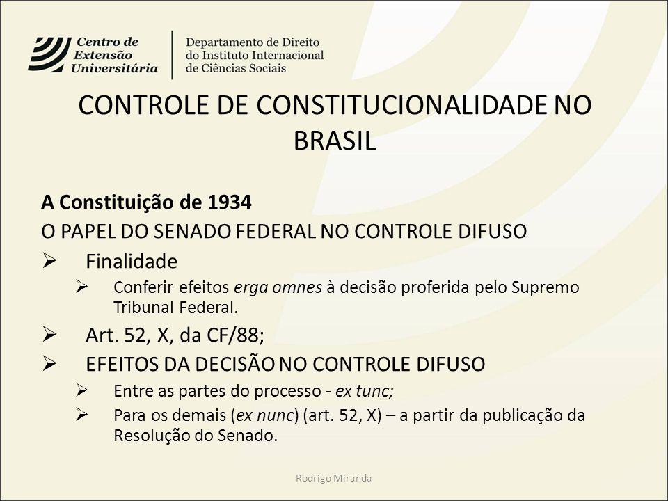 CONTROLE DE CONSTITUCIONALIDADE NO BRASIL A Constituição de 1934 O PAPEL DO SENADO FEDERAL NO CONTROLE DIFUSO Finalidade Conferir efeitos erga omnes à decisão proferida pelo Supremo Tribunal Federal.