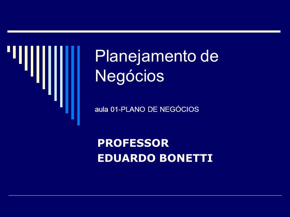 Planejamento de Negócios aula 01-PLANO DE NEGÓCIOS PROFESSOR EDUARDO BONETTI