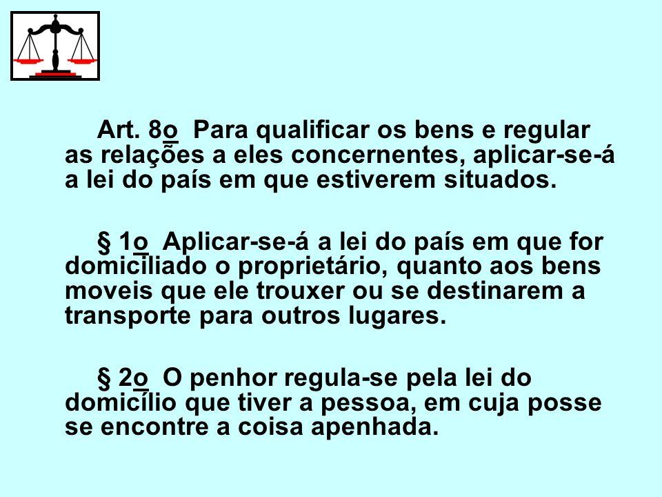 Art. 8o Para qualificar os bens e regular as relações a eles concernentes, aplicar-se-á a lei do país em que estiverem situados. § 1o Aplicar-se-á a l