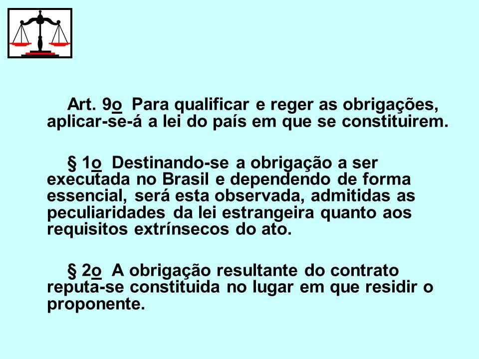 Art. 9o Para qualificar e reger as obrigações, aplicar-se-á a lei do país em que se constituirem. § 1o Destinando-se a obrigação a ser executada no Br