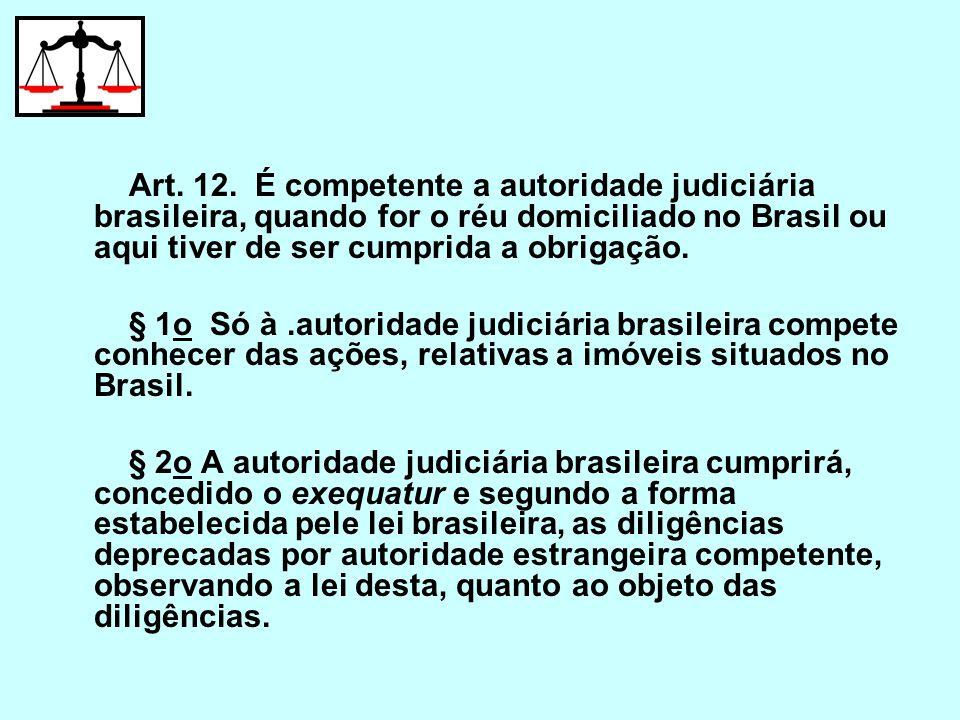 Art. 12. É competente a autoridade judiciária brasileira, quando for o réu domiciliado no Brasil ou aqui tiver de ser cumprida a obrigação. § 1o Só à.