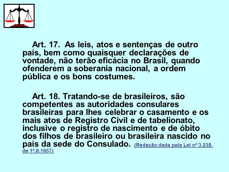 Art. 17. As leis, atos e sentenças de outro país, bem como quaisquer declarações de vontade, não terão eficácia no Brasil, quando ofenderem a soberani