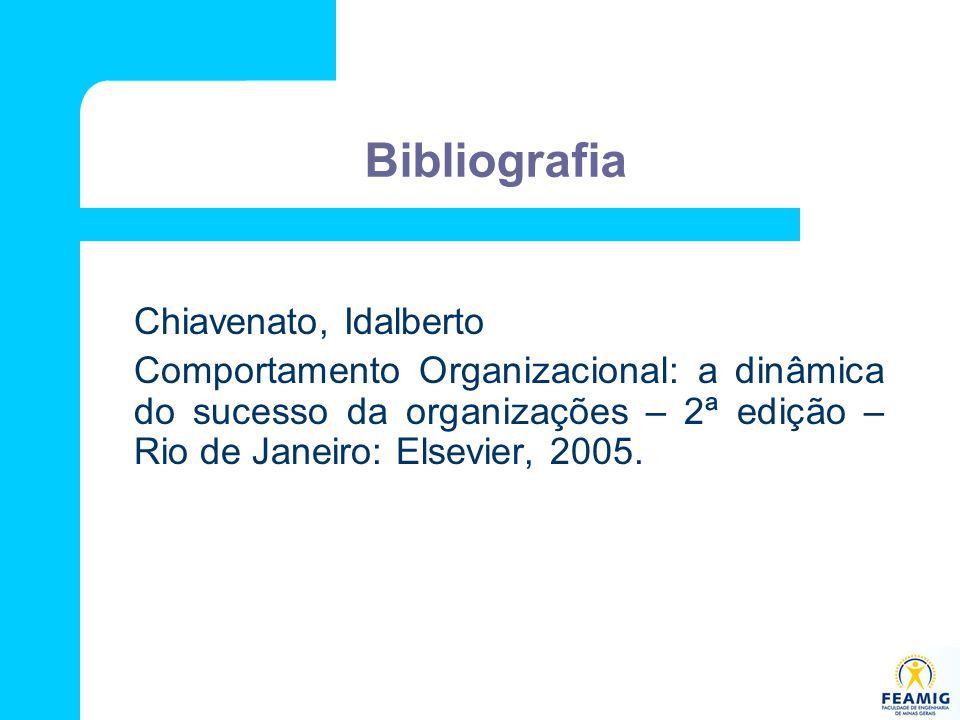 Bibliografia Chiavenato, Idalberto Comportamento Organizacional: a dinâmica do sucesso da organizações – 2ª edição – Rio de Janeiro: Elsevier, 2005.