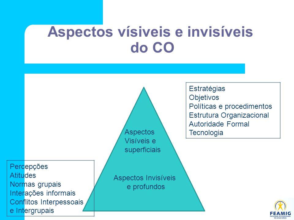 Aspectos vísiveis e invisíveis do CO Aspectos Visíveis e superficiais Aspectos Invisíveis e profundos Estratégias Objetivos Políticas e procedimentos