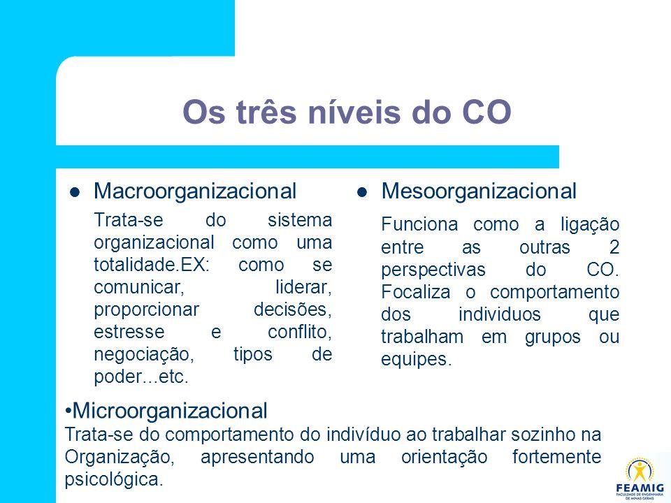 Os três níveis do CO Macroorganizacional Trata-se do sistema organizacional como uma totalidade.EX: como se comunicar, liderar, proporcionar decisões,