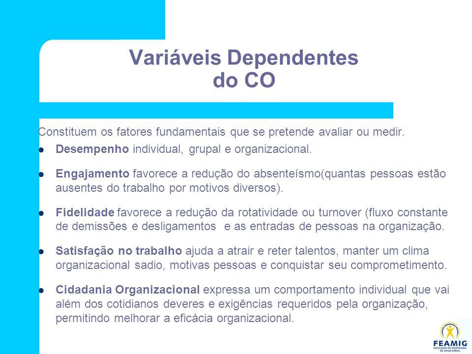 Variáveis Dependentes do CO Constituem os fatores fundamentais que se pretende avaliar ou medir. Desempenho individual, grupal e organizacional. Engaj