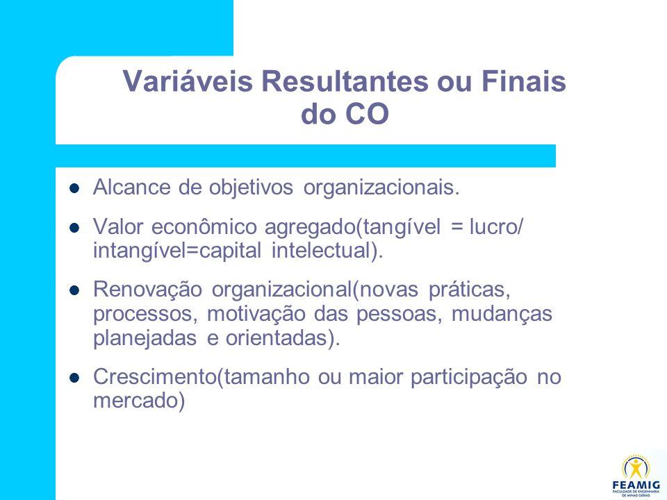 Variáveis Resultantes ou Finais do CO Alcance de objetivos organizacionais. Valor econômico agregado(tangível = lucro/ intangível=capital intelectual)