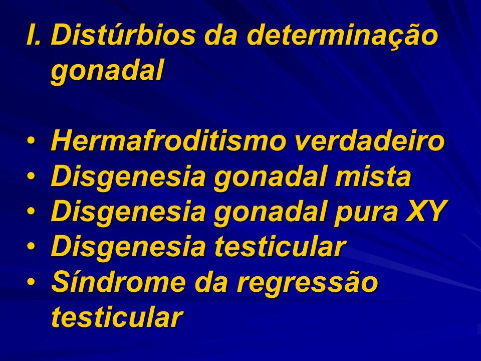 I.Distúrbios da determinação gonadal Hermafroditismo verdadeiroHermafroditismo verdadeiro Disgenesia gonadal mistaDisgenesia gonadal mista Disgenesia