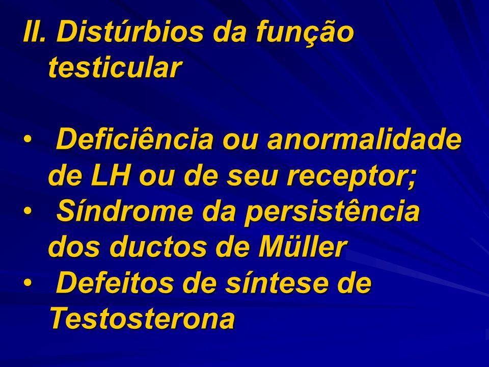 II. Distúrbios da função testicular Deficiência ou anormalidade de LH ou de seu receptor; Deficiência ou anormalidade de LH ou de seu receptor; Síndro