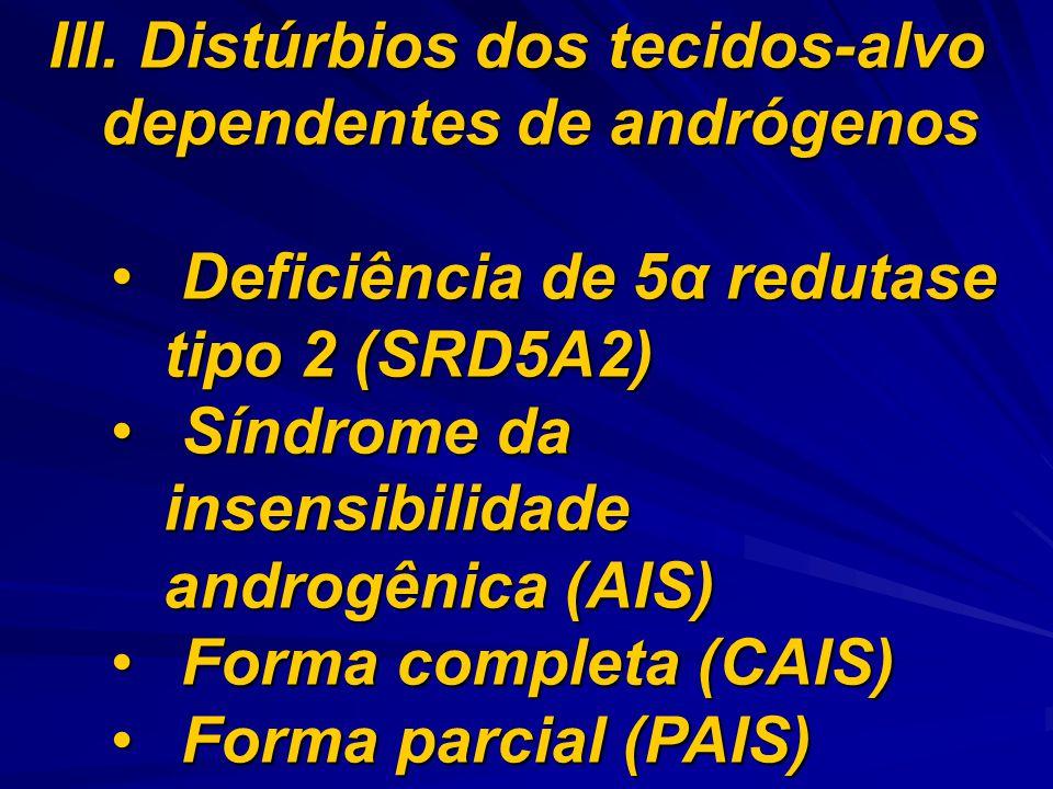 III. Distúrbios dos tecidos-alvo dependentes de andrógenos Deficiência de 5α redutase tipo 2 (SRD5A2) Deficiência de 5α redutase tipo 2 (SRD5A2) Síndr