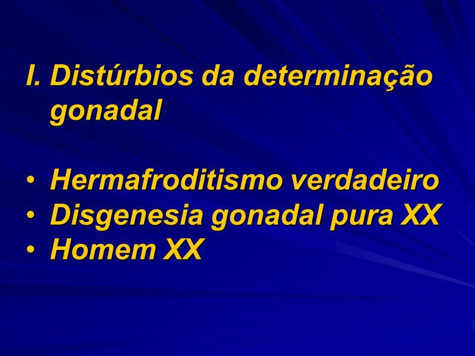 I.Distúrbios da determinação gonadal Hermafroditismo verdadeiroHermafroditismo verdadeiro Disgenesia gonadal pura XXDisgenesia gonadal pura XX Homem X