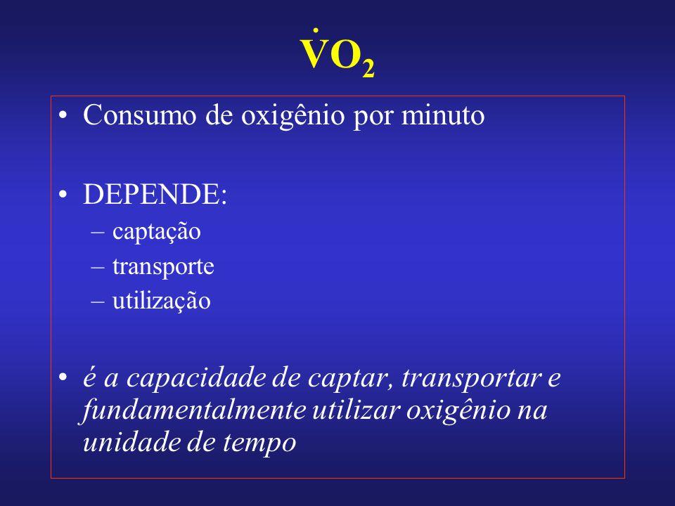 VO 2 Consumo de oxigênio por minuto DEPENDE: –captação –transporte –utilização é a capacidade de captar, transportar e fundamentalmente utilizar oxigênio na unidade de tempo.
