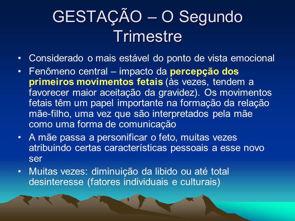 GESTAÇÃO – O Segundo Trimestre Considerado o mais estável do ponto de vista emocional Fenômeno central – impacto da percepção dos primeiros movimentos