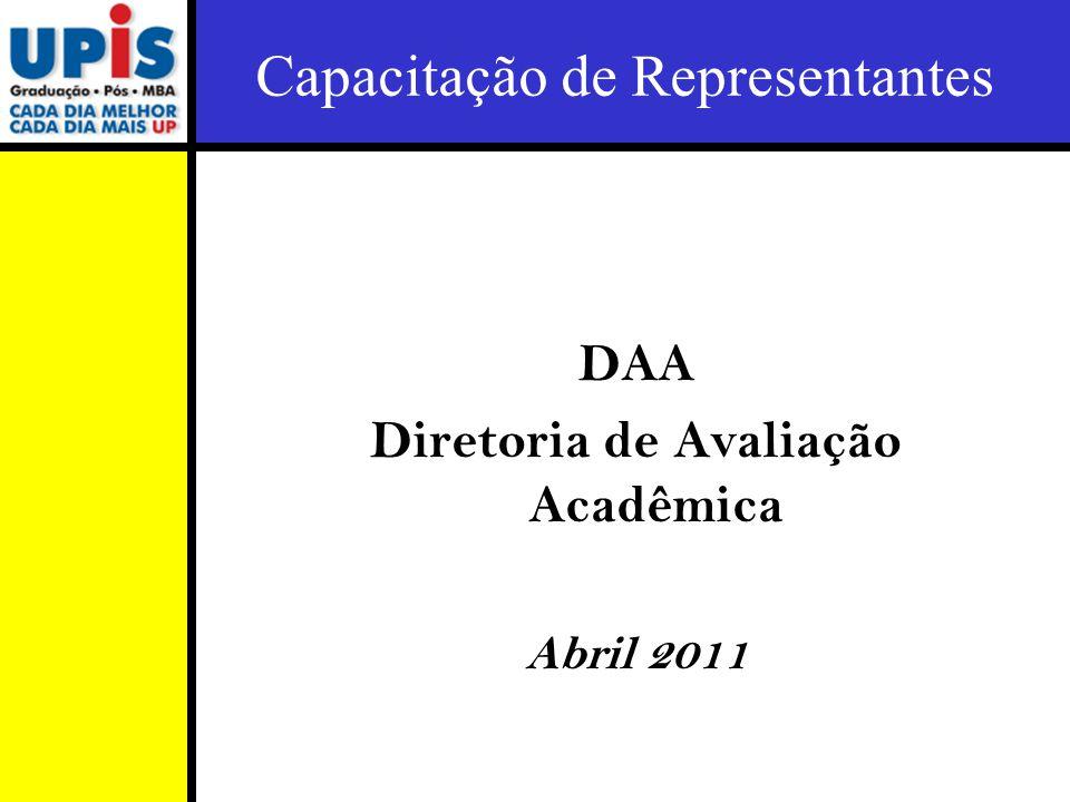 Capacitação de Representantes DAA Diretoria de Avaliação Acadêmica Abril 2011