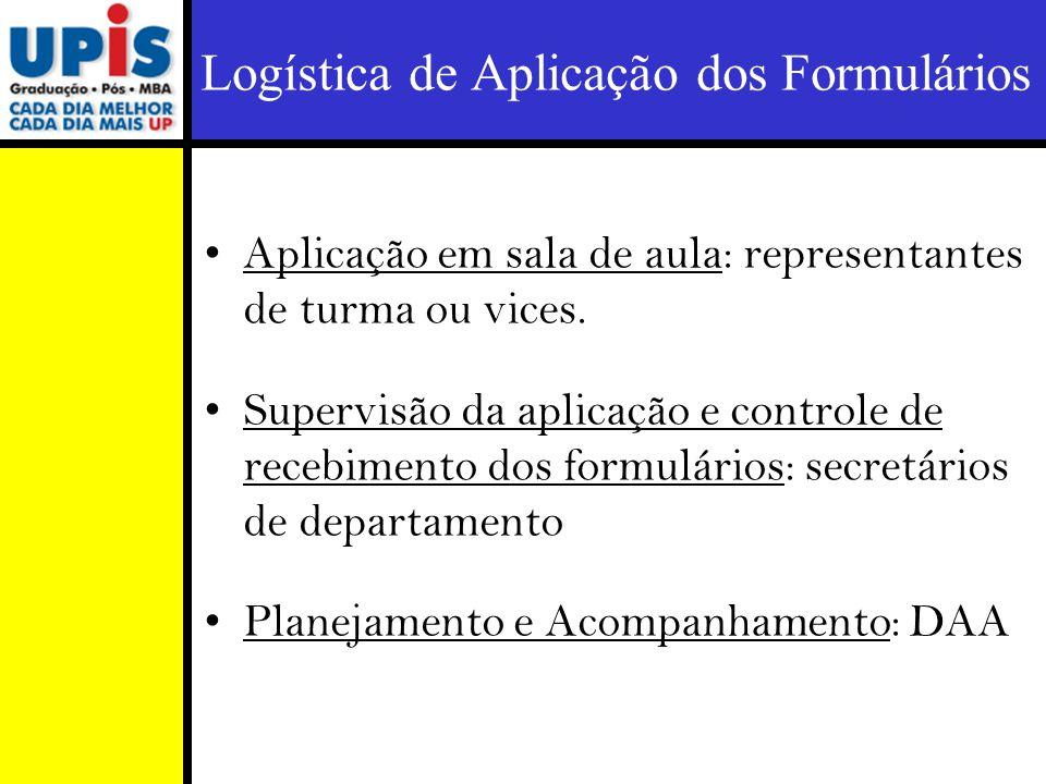 Aplicação em sala de aula: representantes de turma ou vices. Supervisão da aplicação e controle de recebimento dos formulários: secretários de departa