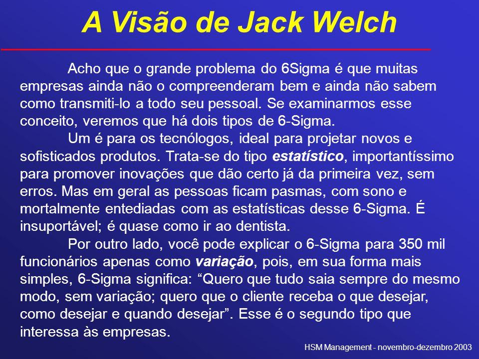 A Visão de Jack Welch Acho que o grande problema do 6Sigma é que muitas empresas ainda não o compreenderam bem e ainda não sabem como transmiti-lo a t