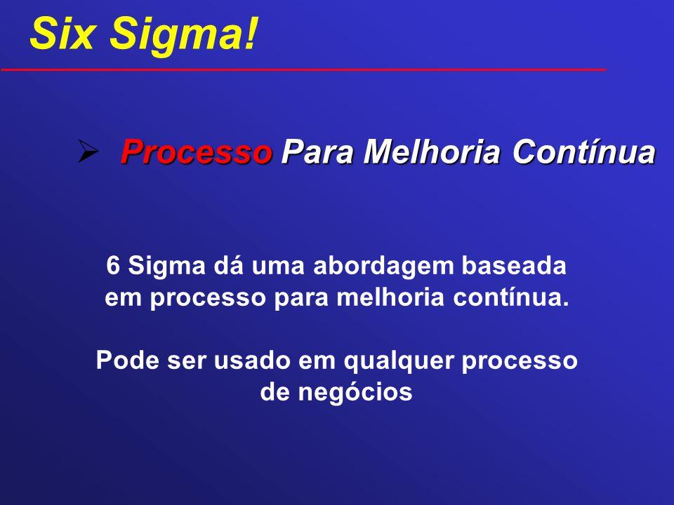 Processo Para Melhoria Contínua 6 Sigma dá uma abordagem baseada em processo para melhoria contínua. Pode ser usado em qualquer processo de negócios S