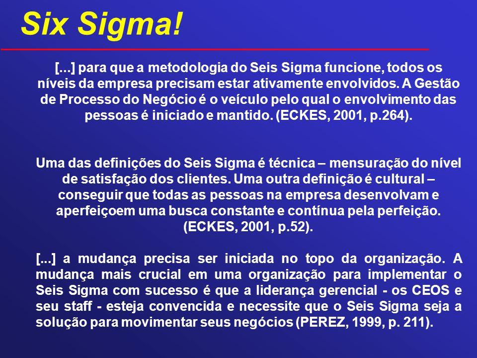 [...] para que a metodologia do Seis Sigma funcione, todos os níveis da empresa precisam estar ativamente envolvidos. A Gestão de Processo do Negócio