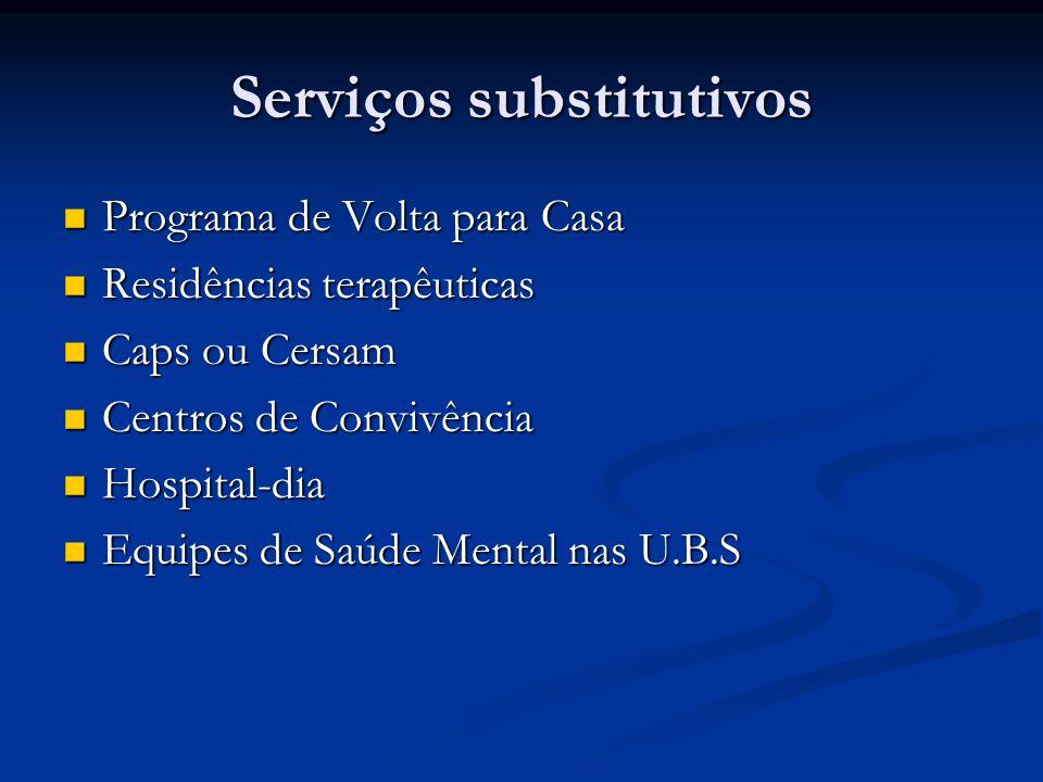 Serviços substitutivos Programa de Volta para Casa Programa de Volta para Casa Residências terapêuticas Residências terapêuticas Caps ou Cersam Caps ou Cersam Centros de Convivência Centros de Convivência Hospital-dia Hospital-dia Equipes de Saúde Mental nas U.B.S Equipes de Saúde Mental nas U.B.S